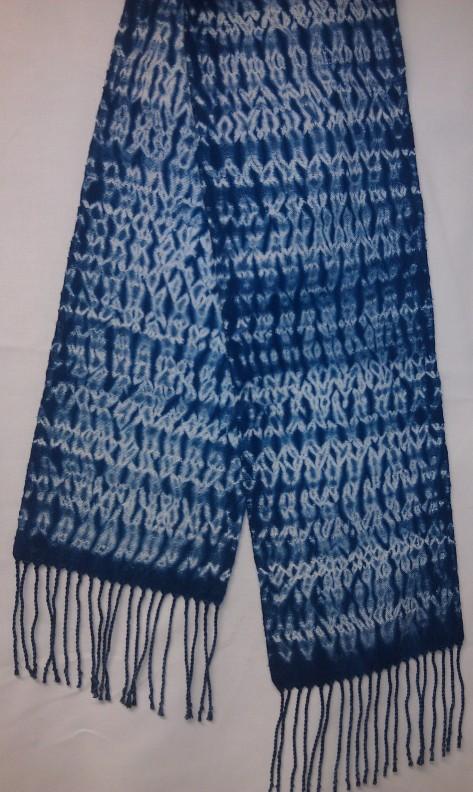 Woven Shibori scarf, 100% cotton, indigo dyed.  (SOLD)