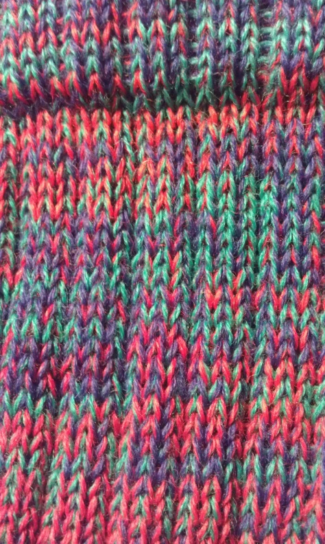 Detail of CSM wool sock, wonderful colors.