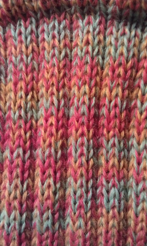 Detail of CSM wool sock, colors are a bit softer.