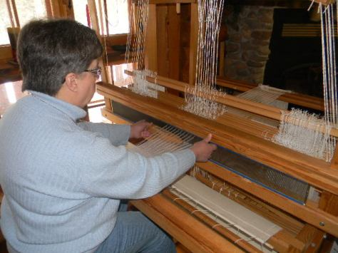 Weaving on a very cold winter day.