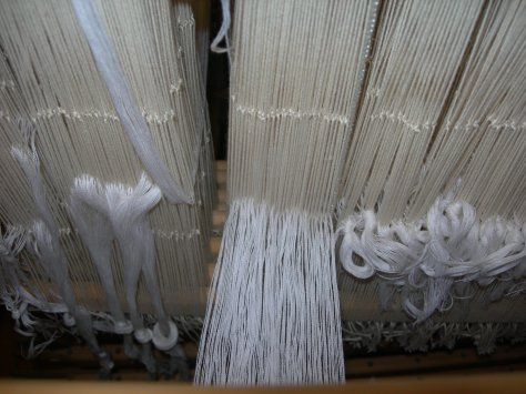 16/2 Bockens cotton threaded through long-eye (seine twine) heddles.