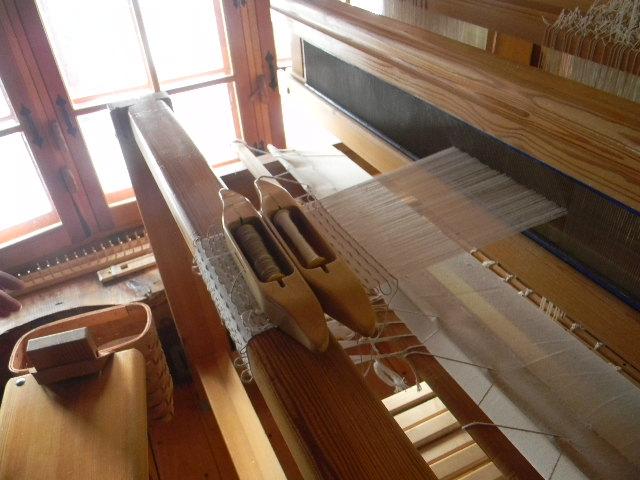 Woven shibori in progress.