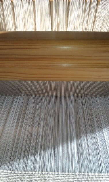Drawloom warp is threaded, sleyed and tied on, ready to weave.