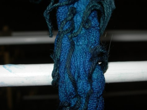 A sample changing from greenish/blue to indigo blue when exposed to the air.