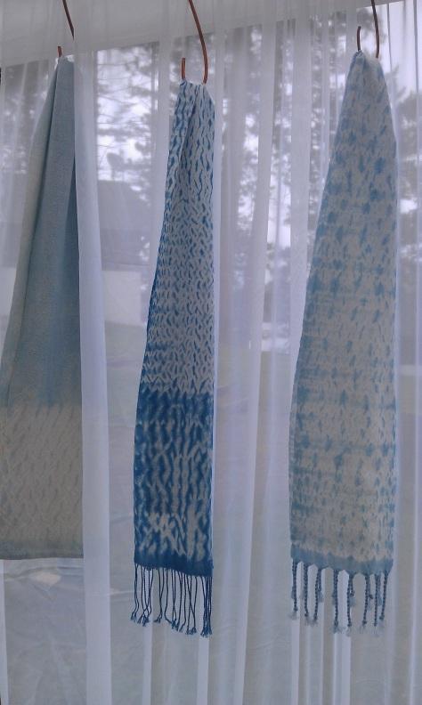 More woven shibori scarves.