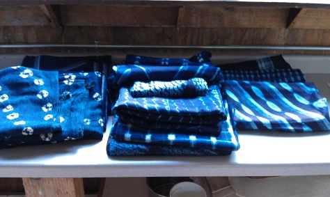 Examples of shibori, many from Ghana.