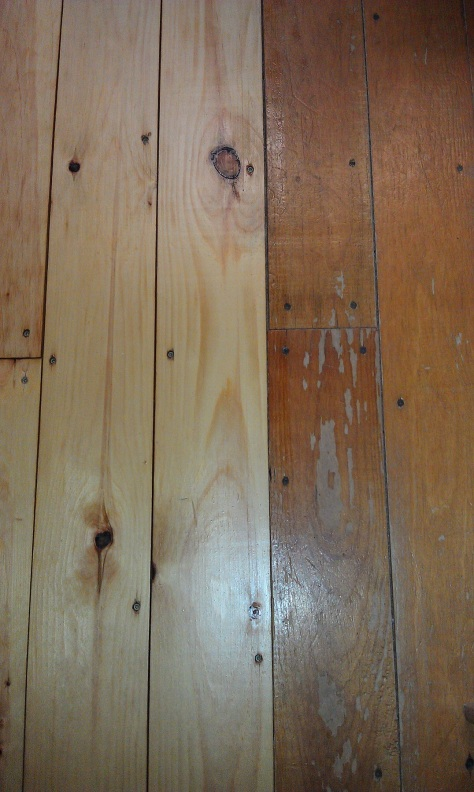 Old floor (right) and newly refinished floor boards (left).