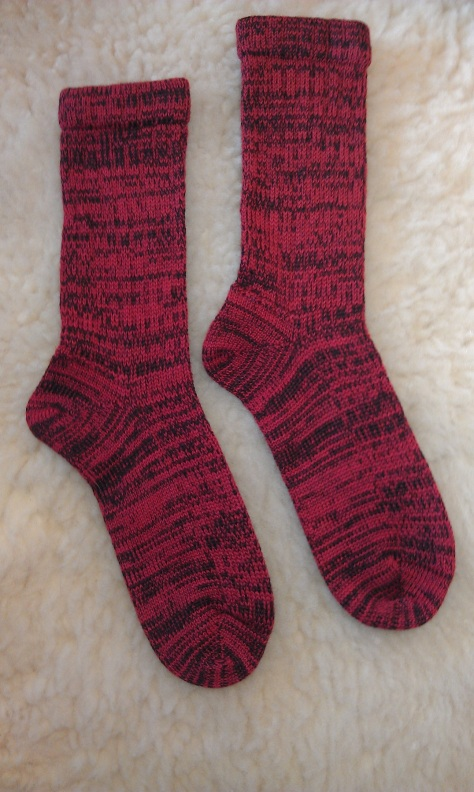 Red Embers, socks made on a 1908 Gearthart sock machine.