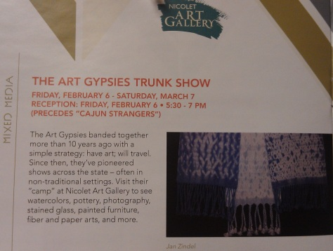 Art Gypsy Trunk Show at Nicolet College Art Gallery, Feb. 6 - Mar. 7.