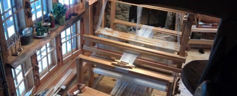 Woven shibori in progress on this loom.