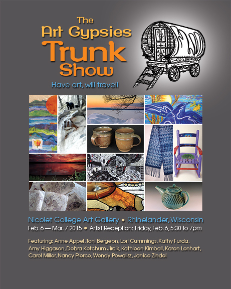 Poster for the Art Gypsies Trunk Show at Nicolet College Art Gallery.