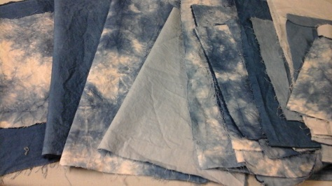 Indigo-dyed cotton swatches.