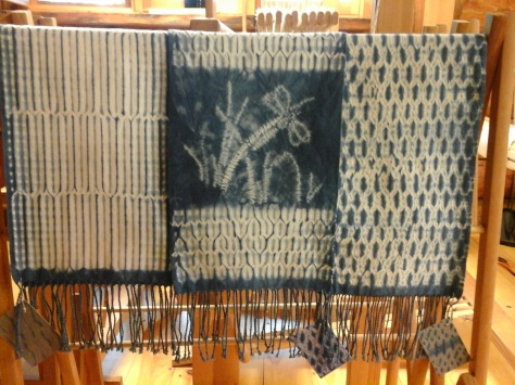 Three of four new woven shibori scarves!