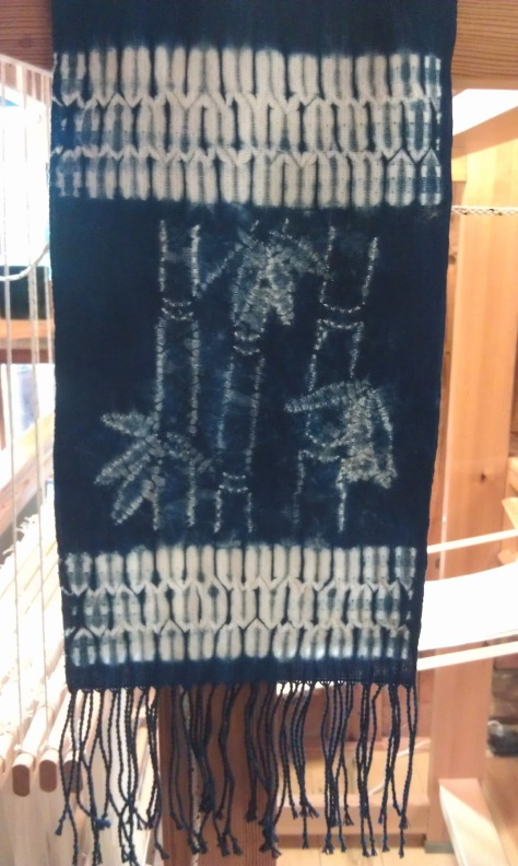 Woven shibori scarf with free-stitched design.  (SOLD)