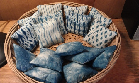 Handwoven, woven shibori and dyed cotton sachets, filled with dried lavender. sachets.