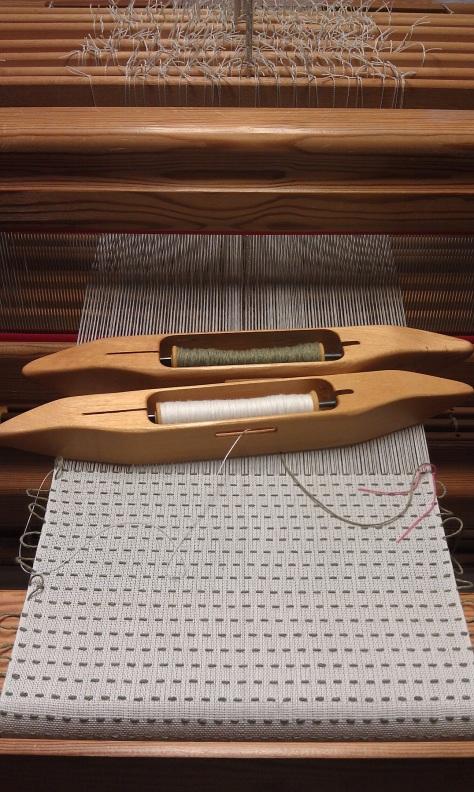 Woven shibori, in progress.