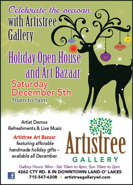 Artistree Gallery Holiday Art Bazaar, Dec. 5, 2015!