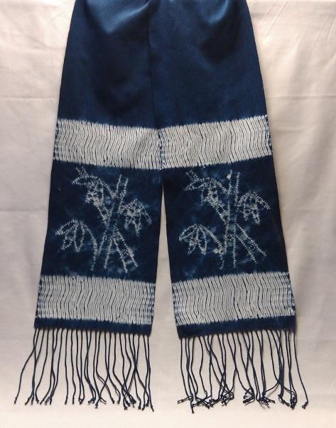 """Bamboo 2,"" woven shibori scarf. (Sold)"