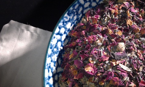 Dried lavender/rose petal mix for sachets.