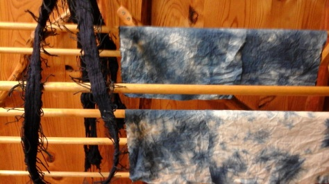 Air-drying (with help of fan) after indigo dye vat.