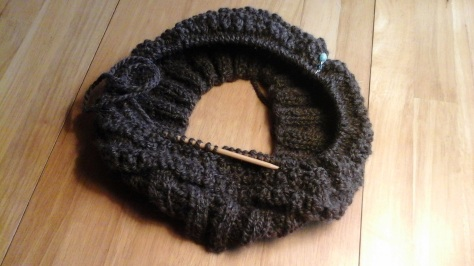 Coopworth roving, spun into 2-ply, becoming a hat.